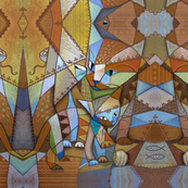 Crazy quilted cubism cats