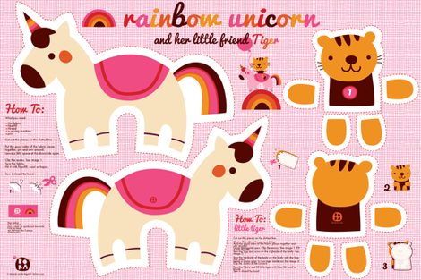 Rainbow unicorn and little tiger