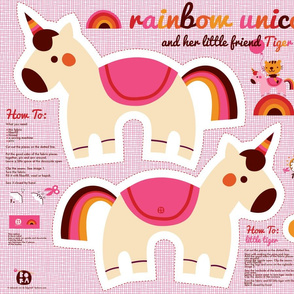 Rainbow unicorn and little tiger
