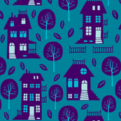 Houses and trees blue/purple