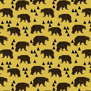 Geometric Bear - Mustard (Smaller) by Andrea Lauren