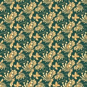 Goldend Balls- Small- Green Background, Ornate Swirly Butterflies, Designs