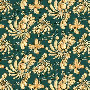 Golden Balls- Large- Green Background, Ornate Swirly Butterflies, Designs