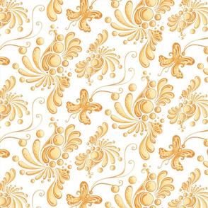 Golden Balls- Large- White Background, Ornate Swirly Butterflies, Designs