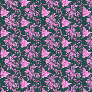 Purple Pretties- Small- Green Background, Flower Bud Designs