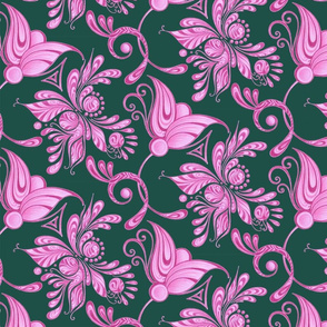 Purple Pretties- Large- Green Background, Flower Bud Designs