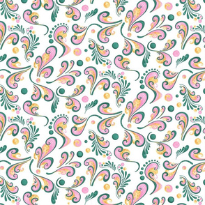 Swirls- Large- White Background, Green, Pink, Yellow Designs