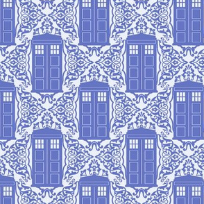 Damask Police Box - Blue on Blue