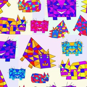 Crazy Colorful Cubist Cats
