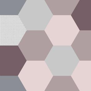 Pink Grey Ombre Hexagon Quilt