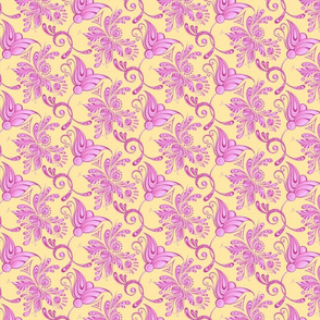 Purple Pretties- Small- Yellow Background, Flower Bud Designs