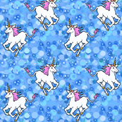 Galloping unicorns in blue