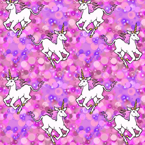 galloping unicorns, pink and purple