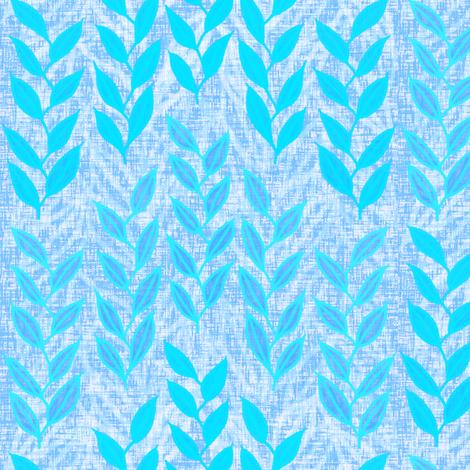 Sea grasses in bright blues on linen weave