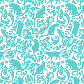 cats in the garden - turquoise, small