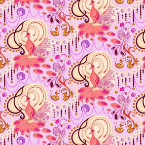 Elegant Birds- Music Note- Treble Clef- Light Pink Background