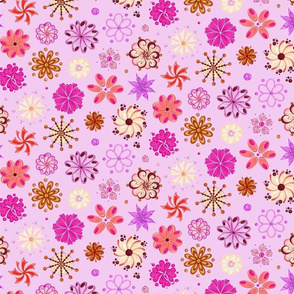 Ornate Pink Flowers- Large- Light Pink Background