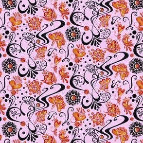 Swirly Black Hearts- Orange Flowers- Large- Light Pink