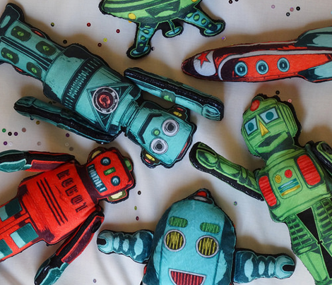 Small Retro Robots with Rocket on Minky