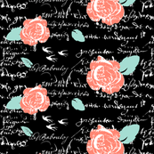 French Coral Roses on French Script
