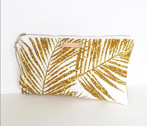 gold glitter palm leaves - white