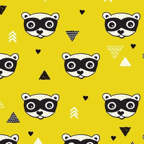 geometric woodland animals raccoon gender neutral illustration print mustard green