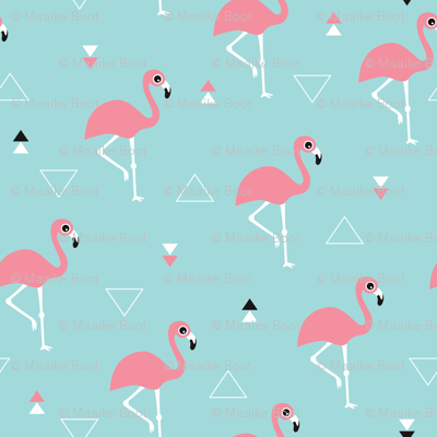 Geometric summer flamingo beach theme in aqua and pink ...