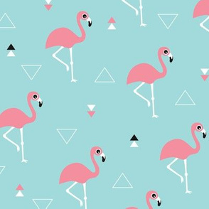 Geometric summer flamingo beach theme in aqua and pink
