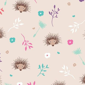 Soft pink hedgehog flowers spring summer illustration print for girls