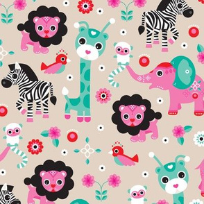 Adorable pink jungle zoo animals elepant giraffe lion monkey lemur zebra and birds illustration design for girls