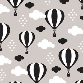 Soft pastel clouds beige black and white hot air balloon and love sky scandinavian style illustration pattern