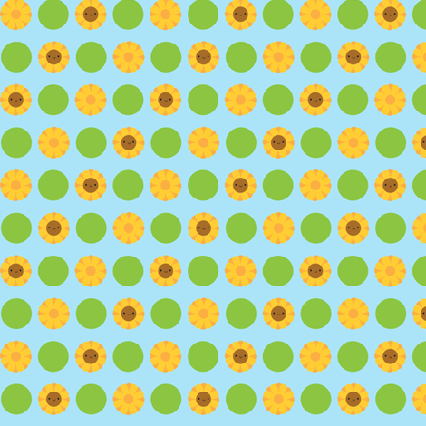 Kawaii Sunflower Polka Dots (Blue)