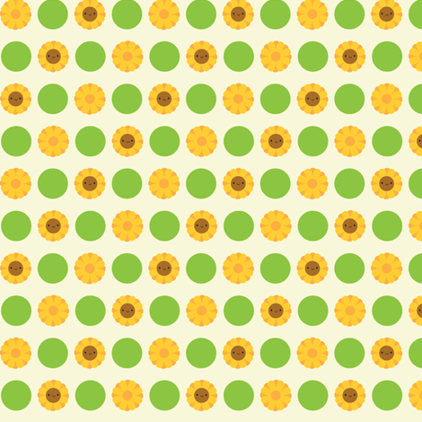 Kawaii Sunflower Polka Dots (Cream)