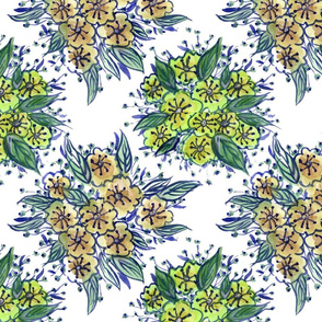 Watercolour Flowers Tile - Green