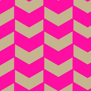 Herringbone Neon Pink and Natural