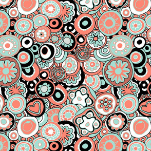 Millefiori in coral and mint