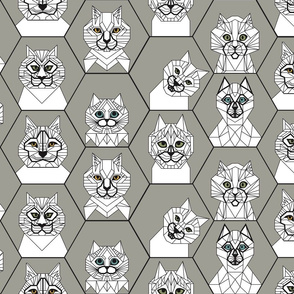 Geo Cats Grey