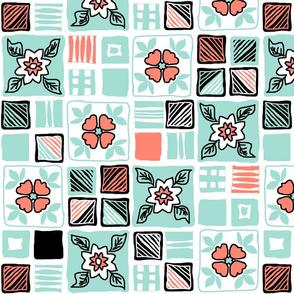 coral_mint_blacka_white_tiles_4x4 1a