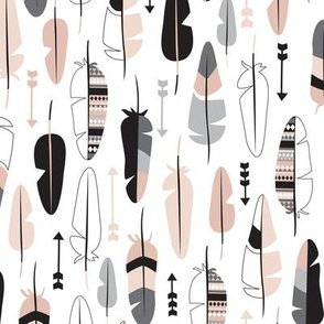 Geometric vintage feathers pastel arrows in beige pastel nudes white and black illustration pattern