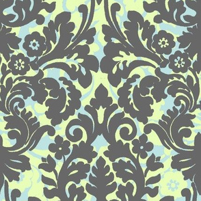 floral foulard in green and turqoiuse