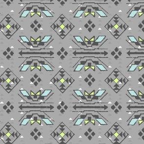 hand stamped grey tribal print