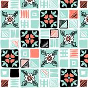coral_mint_black_white_tiles_4x4_3a