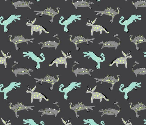 Kid 39 s art dinosaur on gray fabric yarnandcloth spoonflower for Grey dinosaur fabric