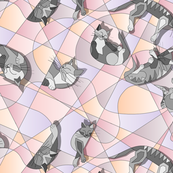 Cubist sleeping cats