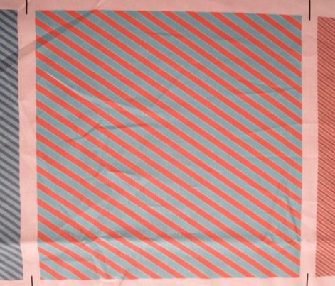Turqouise and Tangerine Wide Diagonal Stripe
