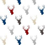 Red Navy Gray Deer
