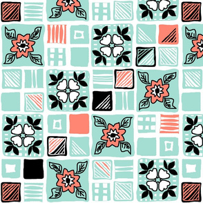 coral_mint_black_white_tiles_4x4_6a