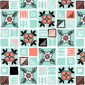 coral_mint_black_white_tiles_4x4_5a