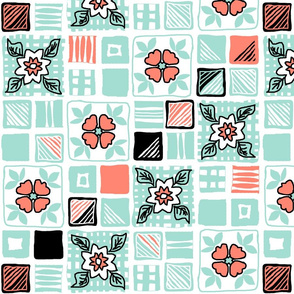 coral_mint_black_white_tiles_4x4_4