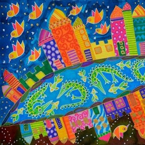 crocodile, bird, bulding, stars, city